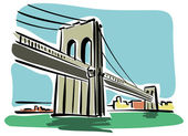 New York, Brooklyn Bridge — Stock Vector