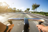 First person view on bicycle — Stock Photo