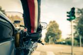 Motorcyclist on the road — Stock Photo