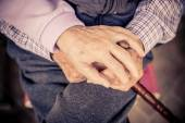 Senior couple hands — Stock Photo