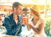 Couple drinking fruit shake — Stock Photo