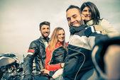 Group of bikers taking selfie — Stock Photo
