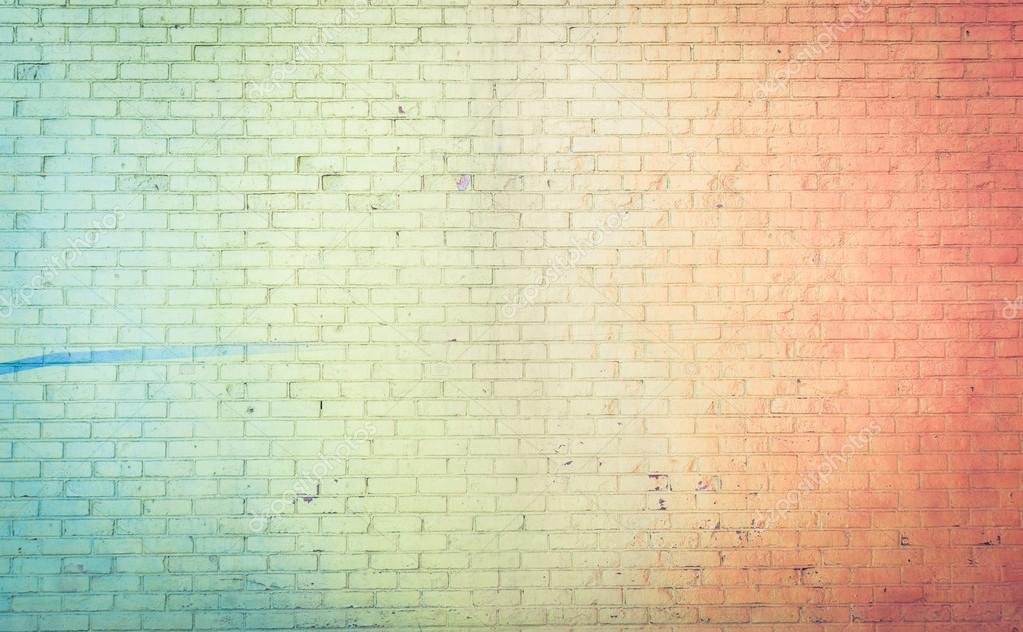 Stile: parete colorata sfondo arcobaleno. concetto su muri di mattoni ...