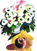 Watercolor beautiful flowers and apple impression painting — Stock Photo