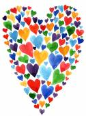 Watercolor heart Valentine day card — Stock Photo