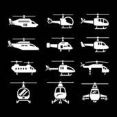 Set Ikonen der Hubschrauber — Stockvektor