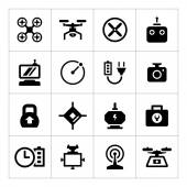 Set icons of quadrocopter, hexacopter, multicopter and drone — Stock Vector