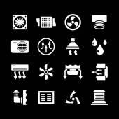 Iconos de sistema de ventilación y acondicionamiento — Vector de stock