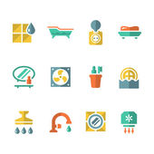 Set flat icons of bathroom — Stock Vector