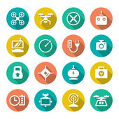 Set flat icons of quadrocopter, hexacopter, multicopter and dron — Stockvektor