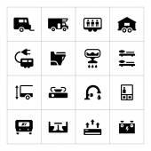 Set icons of camper, caravan, trailer — 图库矢量图片