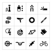 Set icons of bicycle - parts and accessories — Vector de stock