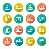Set flat icons of seaport — Stock Vector