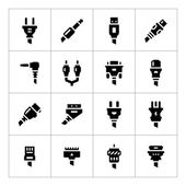 Set icons of plugs and connectors — Stock Vector