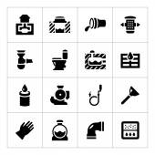 Set icons of sewerage — Stock Vector