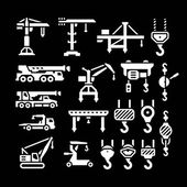 Set icons of crane, lifts, winches and hooks — Stok Vektör