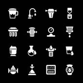 Set icons of water filters — Stock Vector