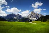 Golf course in the Italian Dolomites — Stock Photo
