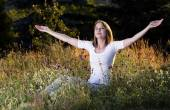 Woman taking a breath — Stock Photo