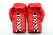 Red boxing gloves on white background, isolated — Foto Stock