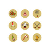 Vector set of icons. The most necessary thing for Indians. Flat style — Stock Vector