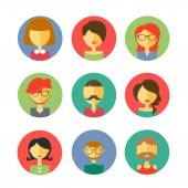User Icons and People Icons in flat style — Stock Vector