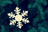 Decorative snowflake on Christmas tree — Foto de Stock