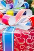 Colorful and striped boxes with gifts tied bow — Foto de Stock