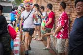 Songkran festival on April 14, 2015 in Chiangmai,Thailand. — Stock Photo