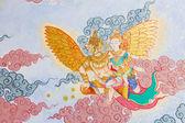 Arte da pintura em estilo tailandês tradicional na parede do templo — Fotografia Stock