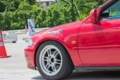 Undefined Drivers race wheel-to-wheel on Raceway — Stock Photo