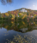 Autumn landscape, Svyatogorsk church, Donetsk Region, Ukraine — Stockfoto