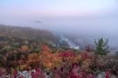Autumn landscape, Svyatogorsk church in fog, Donetsk Region, Uk — Stockfoto