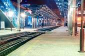 Railway station at night, Donetsk, Ukraine — Stock Photo