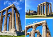 Postcard of ruins ancient temple Zeus, Athens — Stock Photo