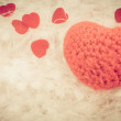 Crochet knit red heart isolated — Stock Photo #63744701