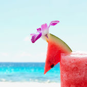 Watermelon on the top of watermelon juice glass — Stock Photo