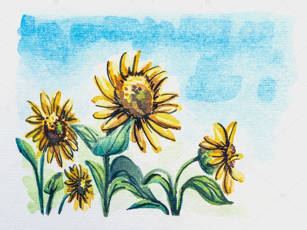 黄色的向日葵,蓝色的天空,水彩组绘– 图库图片
