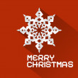 Vector Retro Red Merry Christmas Illustration with Paper Snowflake — Stock Vector #54019295