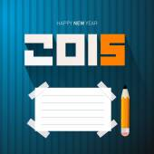 2015 - Happy New Year Vector Illustration with Pencil and Empty Paper on Blue Background — Stock Vector