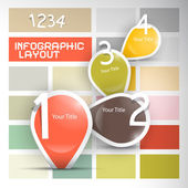 One, two, three, four - retro vector paper progress steps for tutorial, infographics set  — Stock Vector