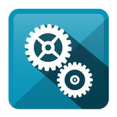 Cog - Gear Blue Vector Rounded Square Icon — Stock Vector