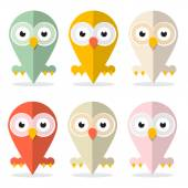 Vector Owls Set Illustration Isolated on White Background  — Stock Vector