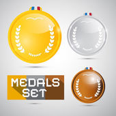 Vector Medals Set - Gold, Silver, Bronze, First, Second, Third Place Symbols — Stock Vector