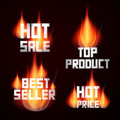 Sale Titles in Flames — Stock Vector