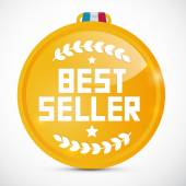 Best Seller Gold Medal Vector Illustration — Stock Vector