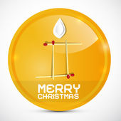 Merry Christmas Gold Medal with Paper Candle Vector Illustration — Stock Vector