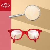 Magnifying Glass and Retro Glasses Vector Illustration — Stock Vector