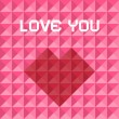 Love You Pink and Red Vector Triangle Background with Heart Symbol — Stock Vector #59968889