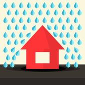 House in Rain Flat Design Vector Illustration — Stock Vector